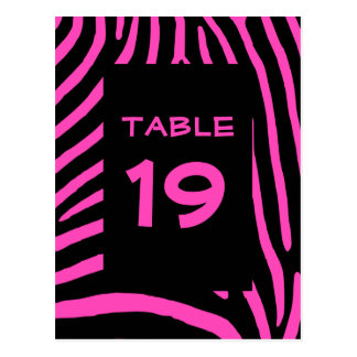 Pink Zebra Stripes Table Number Postcard