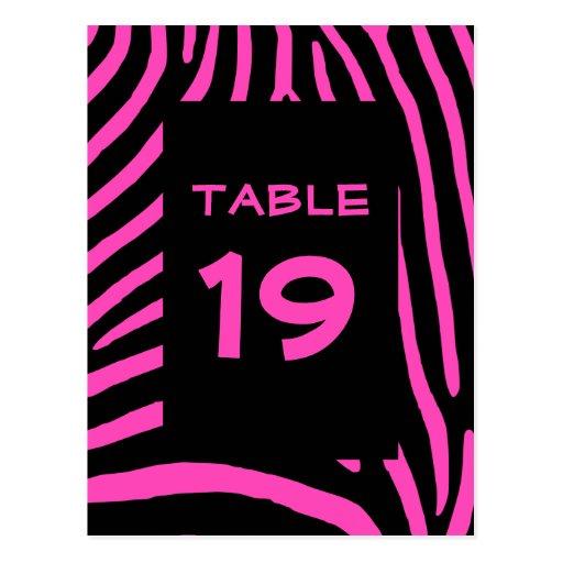 Pink Zebra Stripes Table Number Post Card