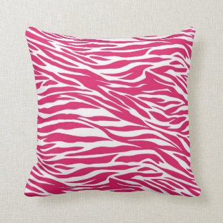 Pink Zebra Stripes throw Pillow