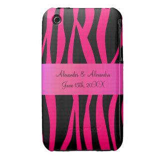 Pink zebra stripes wedding favors Case-Mate iPhone 3 case