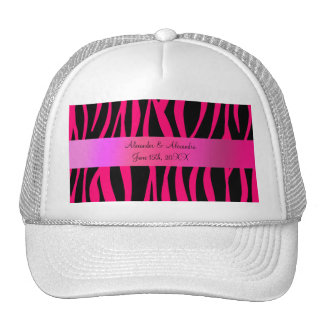 Pink zebra stripes wedding favors mesh hat