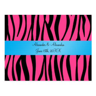 Pink zebra stripes wedding favors post card