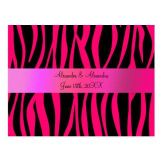 Pink zebra stripes wedding favors post cards
