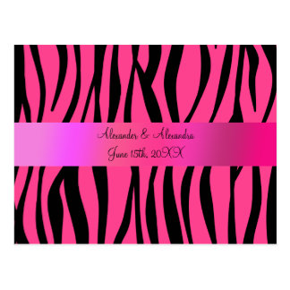 Pink zebra stripes wedding favors postcards