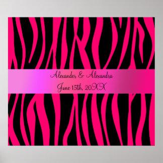 Pink zebra stripes wedding favors posters