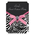 Pink Zebra Sweet 16 Birthday Party Personalized Invitation