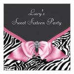 Pink Zebra Sweet 16 Birthday Party Custom Invitation