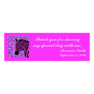 Pink Zebra Sweet 16 Party Thank You Card Inserts Business Card Template