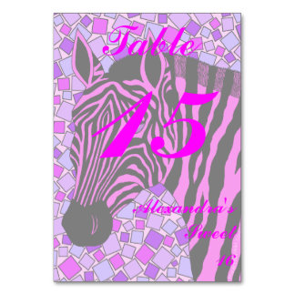 Pink Zebra Sweet 16 Table Number Card Light Table Cards