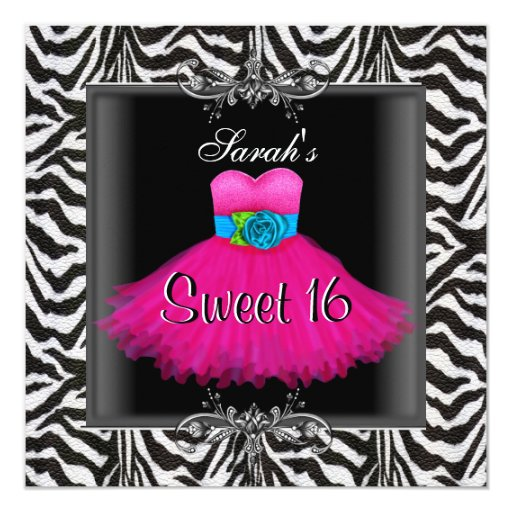 Pink Zebra  Sweet Sixteen 16 Birthday Black Dress 5.25x5.25 Square Paper Invitation Card