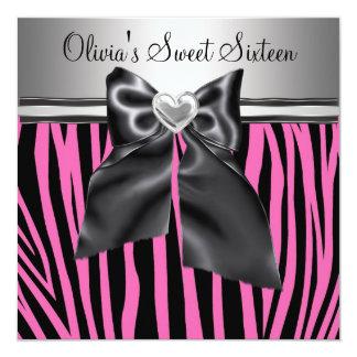 "Pink Zebra Sweet Sixteen Birthday 5.25"" Square Invitation Card"