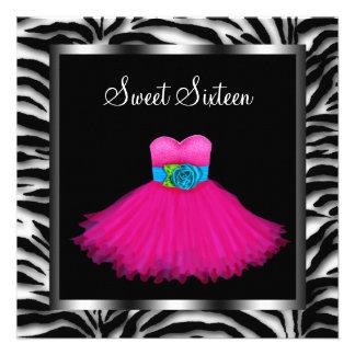 Pink Zebra Sweet Sixteen Birthday Party Custom Invitations
