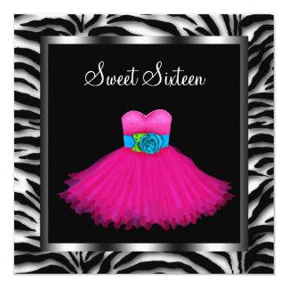 "Pink Zebra Sweet Sixteen Birthday Party 5.25"" Square Invitation Card"