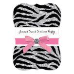 Pink Zebra Sweet Sixteen Birthday Party Personalized Invite