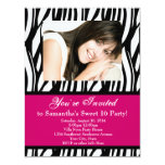 Pink Zebra Sweet Sixteen Invitations