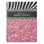 Pink Zebra Sweet Sixteen Personalized Spiral Note Book