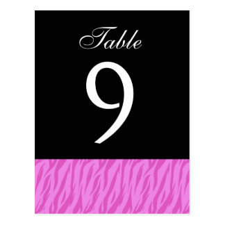 Pink Zebra Table Number Part of Set of 12 Postcard