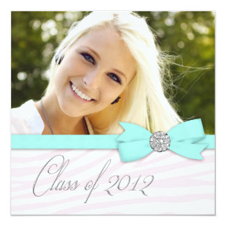 Pink Zebra Teal Blue Photo Graduation Announcement