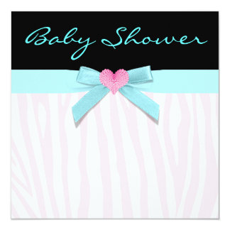 Pink Zebra Teal Heart Baby Girl Shower 5.25x5.25 Square Paper Invitation Card