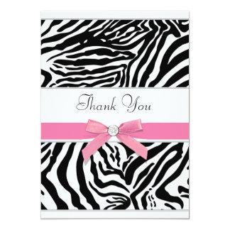 Pink Zebra Thank You Card