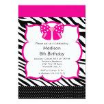 "Pink Zebra Tween Birthday Party Invitation 5"" X 7"" Invitation Card"