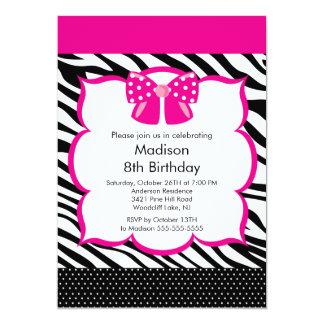 Pink Zebra Tween Birthday Party Invitation