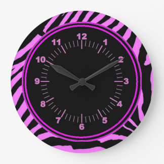 Pink Zebra Wall Clock