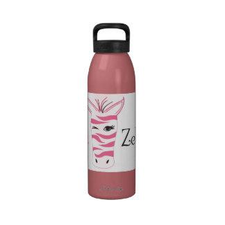 Pink Zebra Water Bottle