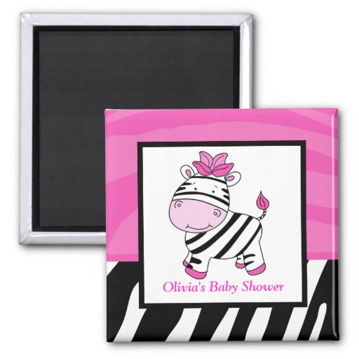 Pink Zebra Wild Jungle Rectangle Favor Magnet