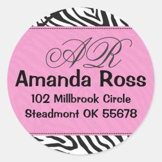 Pink Zebra with initials Classic Round Sticker