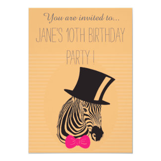 Pink Zebra young girl's or tween birthday party Card