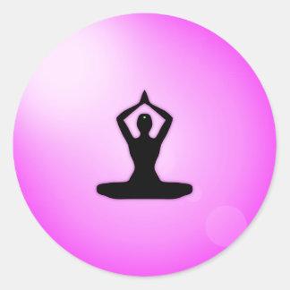 Pink Zen Meditation Classic Round Sticker