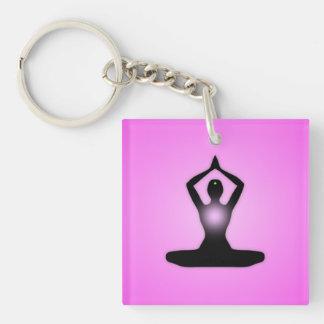 Pink Zen Meditation Sunburst Keychain