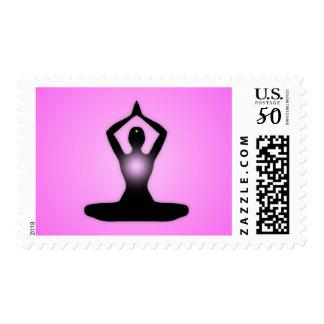 Pink Zen Meditation Sunburst Postage