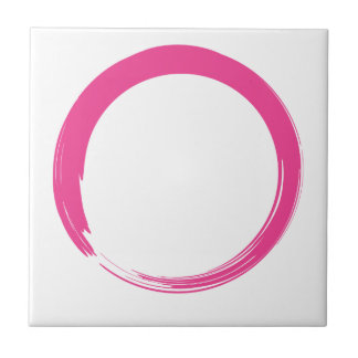 Pink Zen Symbol / Enso Circle Ceramic Tiles