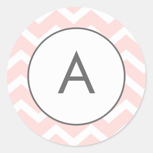 Pink Zig Zag Chevron Pattern Monogram Stickers