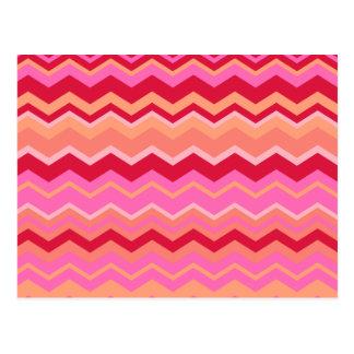 Pink Zig Zag Chevron Pattern Postcard