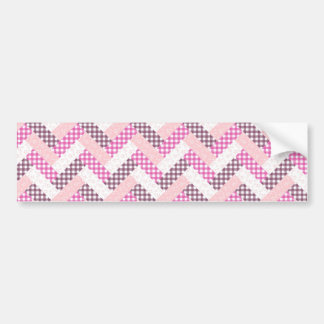 Pink Zig Zag Quilt Pattern Gifts for Her Bumper Sticker