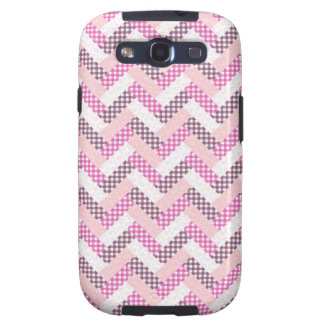 Pink Zig Zag Quilt Pattern Gifts for Her Samsung Galaxy S3 Case
