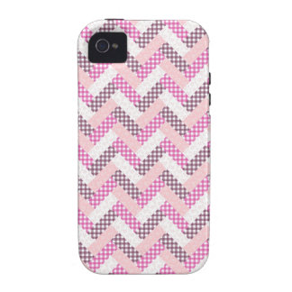 Pink Zig Zag Quilt Pattern Gifts for Her iPhone 4 Case