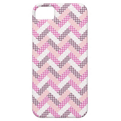 Pink Zig Zag Quilt Pattern Gifts for Her iPhone 5 Cases