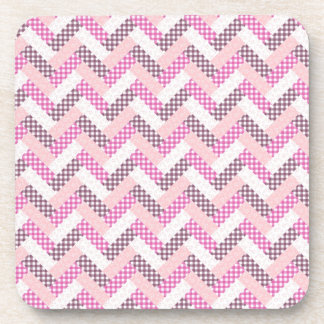 Pink Zig Zag Quilt Pattern Gifts for Her Coaster