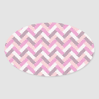 Pink Zig Zag Quilt Pattern Gifts for Her Oval Sticker