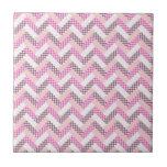 Pink Zig Zag Quilt Pattern Gifts for Her Ceramic Tile