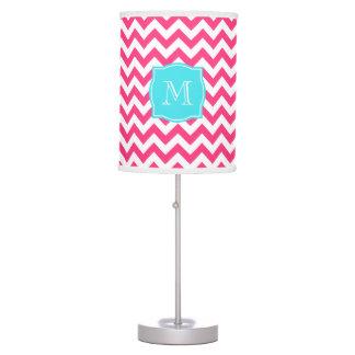 Pink Zigzag and Turquoise Monogram Desk Lamp