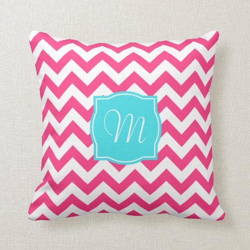 Pink Zigzag and Turquoise Monogram Throw Pillow