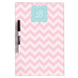 Pink Zigzag Monogram Dry Erase Board