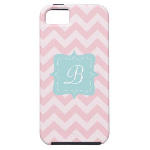 Pink Zigzag Monogram iPhone 5 Cases