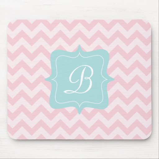 Pink Zigzag Monogram Mousepad