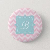 Pink Zigzag Monogram Pinback Button